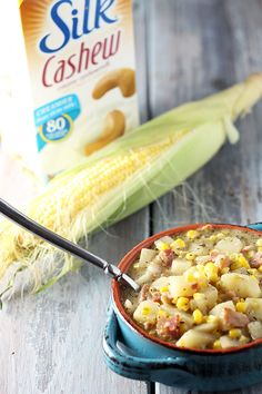 Corn Chowder ~ A lactose-free, creamy and delicious corn chowder with bacon, potatoes & seasonings! Jen Jen, Bacon Corn Chowder, Blond, Diced Potatoes, Joy Of Cooking, Happy Healthy, Chili Recipes, Soup Recipes, Lactose Free