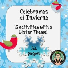 "Not your typical Winter Packet Celebramos El Invierno! is a compilation of printables for you to use with your students to help them learn new vocabulary, new verbs and new phrases to express themselves about the topic of Winter (not a specific ""Christmasy"" theme, although some holiday vocabulary is included).The vocabulary used in the following activities is common vocabulary found in most Spanish textbooks along with supplementary vocabulary to help your students express themselves more…"