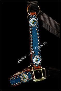 Custom turquoise stingray halter  Chocolate nylon halter  ab chessboards, turquoise swarovski crystals