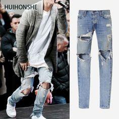 32.39$  Watch now - http://ali9c1.shopchina.info/go.php?t=32806723718 - HUIHONSHE Justin Bieber Fear of God Best Version FOG Men Selvedge Zipper Destroyed Tour Pants Skinny Jeans Blue Jeans Slim Fit 32.39$ #buyininternet