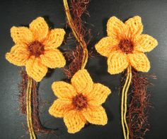 Hand knitted crochet large flowers daffodils by myPerfectRose May Flowers, Large Flowers, Beautiful Day, Beautiful Flowers, Daffodils, Hand Knitting, Knitwear, Knit Crochet, Applique