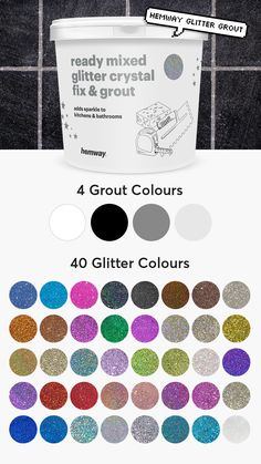 Hemway Glitter Grout 💖😍 ★ EASY TO USE - Simply add to any grout for spa. - Basteln - Welcome Haar Design Cement Grout, Concrete Bathroom, Concrete Cement, Tile Grout, Tiles, Glitter Grout, Glitter Paint, Glitter Bathroom, Glitter Floor