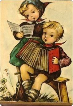 Jongen en meisje......    Samen muziek maken.