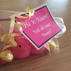 Handed these out to the girls in our youth group today. YW. Young Women. Easter. He is Risen. Peeps