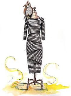 anthropologie stripped dress and owl by tracy hetzel Stripped Dress, Fashion Sketchbook, Anthropologie, Owl, Illustration, Artist, Cute, Painting, Black
