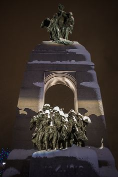 Snow in National War Memorial, Ottawa, Canada