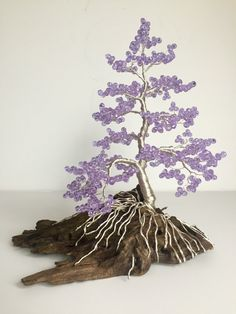 Crystal Wire Tree Sculpture Purple and Silver