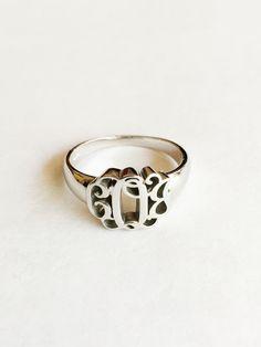 Sterling Silver Monogram Initial Signet Ring