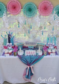 Beautiful Frozen party!  See more party ideas at CatchMyParty.com!  #partyideas #frozen