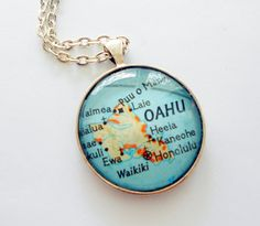 Hawaii map necklace