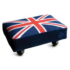Anything with a union jack is good  for me. I would love this stool in velvet instead of needlepoint. From Jonathan Adler.