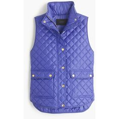 J.Crew Petite Shiny Quilted Field Puffer Vest ($170) ❤ liked on Polyvore featuring outerwear, vests, petite, cotton field jacket, blue military jacket, puffy vest, cotton vest and blue puffer vest