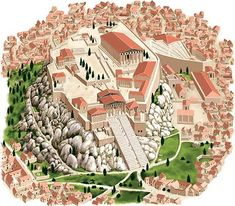 Reconstruction of the Acropolis of Athens from West