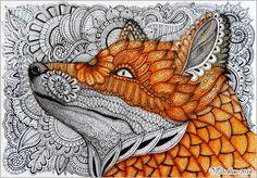 Zentangle FOX. Лиса в зентанглах. Gel pen, watercolor_Viktoriya Crichton, Ukraine. ZentangleHouse, fox, zentangle fox, zentangle animal, zendoodle, design, zentangle, doodleart, abstract, zenart, artdrawing, mydrawing, mypicture, artnet, zentangle stylized fox illustration, zentangle fox patterns, zentangle inspired, doodle flowers, zentangle stylized floral, zentangle art