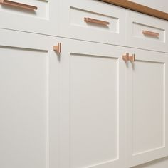 Kitchen Decor Ideas - 12 Ways To Add Copper To Your Kitchen // You can also use simple copper drawer pulls to tie together the other copper elements scattered throughout your kitchen.