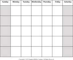 calendar blank grid - Calendar