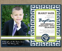 Printable Baptism Invitation with Photo, LDS Baptismal Announcement, DIY, Boy, 5x7 or 4x6. $18.00, via Etsy.