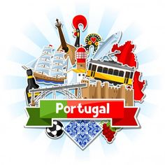 Portugal background with stickers. Portuguese national traditional symbols and objects. Travel Icon, Travel Maps, Portugal Highlights, Spanish Tattoos, Travel Journal Scrapbook, Collages, Instagram Highlight Icons, Cute Illustration, Portuguese