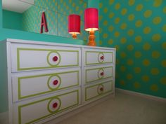 The dresser detail was DIY'd thanks to @My O'verlays. So fun and colorful for a #biggirlroom