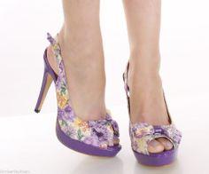 "Light Purple Floral Print Fabric 5"" Pump platforms womens high ..."