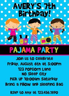Pajama  Party Invitations Sleepover Party by TheTrendyButterfly, $13.00