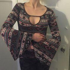 Aztec patterned bell sleeve top Long bell sleeve top. Aztec print Tops