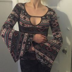 Aztec patterned bell sleeve top Long bell sleeve top. Aztec print Tops
