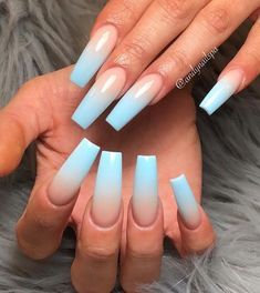 11 Ombré Nude to blue nail art designs - nails - Hair and Beauty eye makeup Ideas To Try - Nail Art Design Ideas Blue Ombre Nails, Light Blue Nails, Blue Acrylic Nails, Summer Acrylic Nails, Spring Nails, Summer Nails, Winter Nails, Acrylic Nails Coffin Ombre, Baby Blue Nails