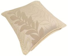 "YASMIN CHENILLE FLORAL LEAF THICK CREAM BEIGE CUSHION COVER 18"" - 45CM #Country"
