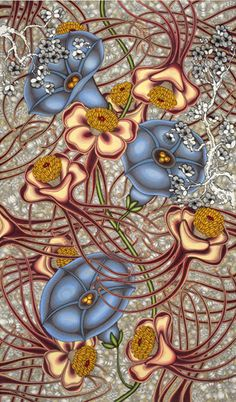 'Converge' by American artist Nancy Blum. Ink, colored pencil, gouache & graphite on paper, 6 ft x in. via the artist's site Botanical Drawings, Botanical Art, Cool Art Projects, Color Pencil Art, Public Art, Paint Designs, American Artists, Painting Inspiration, Art Lessons