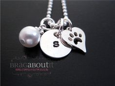 Hand Stamped Jewelry - Personalized Necklace - Paw Print - Puppy Love on Etsy, $36.00