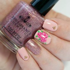 Inspiration on Romantic Rose Nail Art Designs by Fashionsy . Check out more Nails on Bellashoot. Tape Nail Designs, Nail Art Designs 2016, Simple Nail Art Designs, Rose Nail Art, Rose Nails, Flower Nails, Fancy Nails, Fabulous Nails, Creative Nails