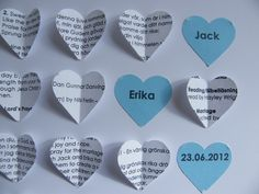 Close up of the heart message.  http://www.frames-by-erika.co.uk/product/hearts-small-blue-custom-paper-order-of-service