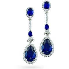 Bling Jewelry Sapphire Color CZ Teardrop Deco Chandelier Earrings Pave Setting