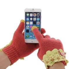 Winter Use Cute Bowknot Female Style Smart 2-finger Touch Smart Gloves for iPhone 6s/6s Plus, and other Smart Phones
