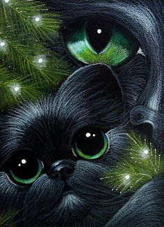 BLACK CAT & KITTEN 1ST CHRISTMAS TREE+