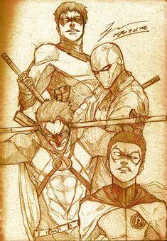 Batman - Nightwing (Dick Grayson), Red Hood (Jason Todd), Red Robin (Tim Drake) & Robin (Damian Wayne)