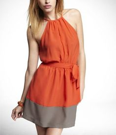 Express Keyhole Halter Dress ($55.93/79.90) - can't decide if I like this better in the orange or the green color.