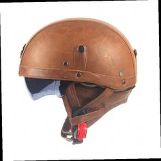 44.88$  Buy here - http://ali2og.worldwells.pw/go.php?t=32662494531 - Motorcycle Motorbike Rider Half Open Face PU Leather Helmet Visor With Collar Leather vintage Motorcycle Motorbike Vespa  44.88$