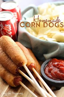 Home made Corn dogs #corndogs http://www.chef-in-training.com/2013/03/easy-homemade-corn-dogs/
