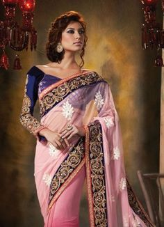 Latest Designer Embroidered Pink Saree http://www.fabfirki.com/ mobile number +91 8401201300(whatsapp number)