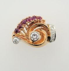 14 Karat Rose Gold Ruby and Diamond Retro Ring