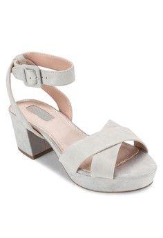 Lulu Low Cross Strap Heels from TOPSHOP in grey_1