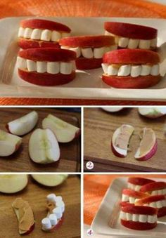 Halloween snack idea for kids. Use cream cheese instead of peanut butter (peanut allergies in class), apple slices, marshmallows.