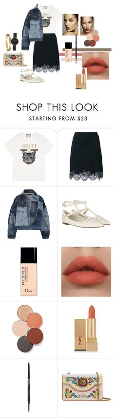 """Untitled #1"" by jihannbla on Polyvore featuring Gucci, Ermanno Scervino, Dolce&Gabbana, Valentino, Christian Dior, LunatiCK Cosmetic Labs, Yves Saint Laurent and Cartier"
