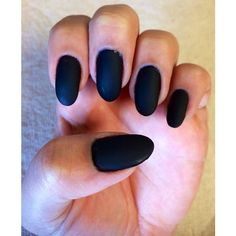 Black Matte Nails oval nails ❤ liked on Polyvore featuring beauty products and nail care