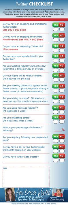 Checklist para Twitter #infografia #infographic #socialmedia vía: http://www.andreavahl.com/