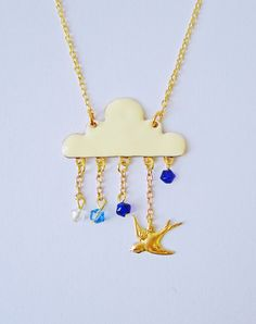 You Cannot Be Cirrus Cloud Necklace — Eclectic Eccentricity Vintage Jewellery Cirrus Cloud, Vintage Jewelry, Gold Necklace, Clouds, Canning, My Style, Pretty, Moon, Jewellery