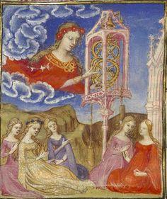 Bibliothèque nationale de France, Français 606, f. 2v (Temperance winding her clock). Christine de Pizan, Épître d'Othéa. Paris, c.140...