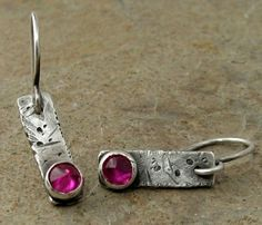 Rustic Ruby Earrings, Oxidized Sterling Silver Earrings, Industrial Modern Silver Jewelry, Ruby Jewelry